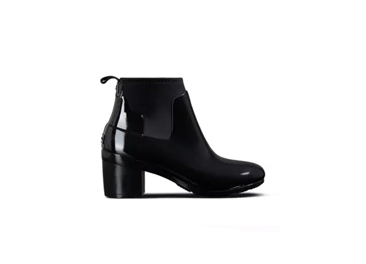 hunter mid heel ankle rain boot