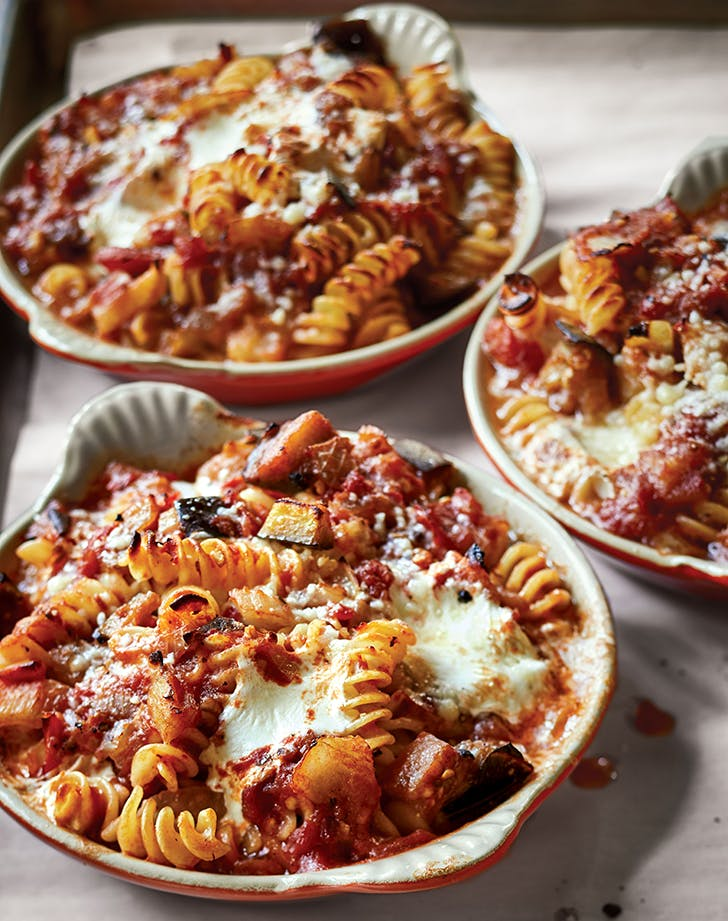 Ina Gartens Baked Pasta with Tomatoes and Eggplant