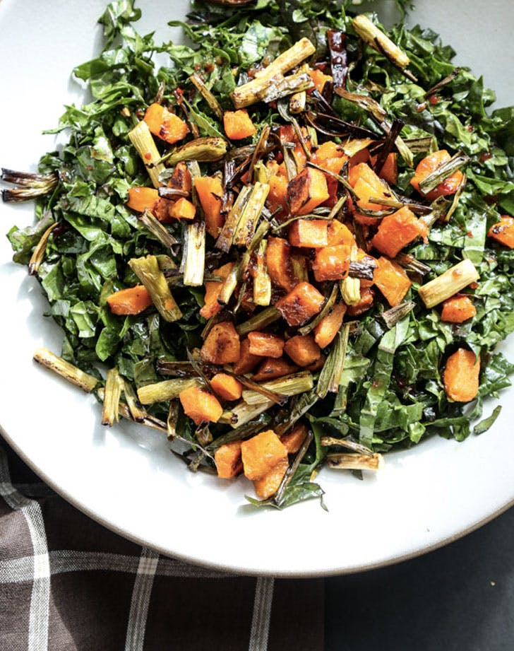 kale salad with butternut squash scallions and sweet chili dressing recipe