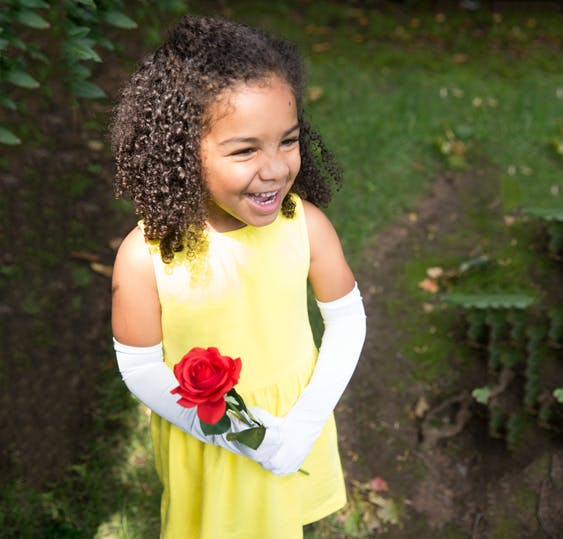 little girl dressed as belle for halloween