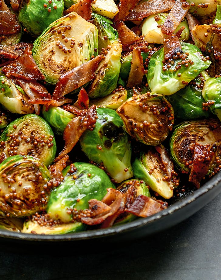 Dorie Greenspan's Maple Syrup and Mustard Brussels Sprouts