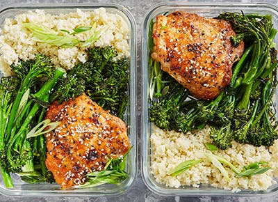 meal prep honey sesame chicken broccolini recipe 290