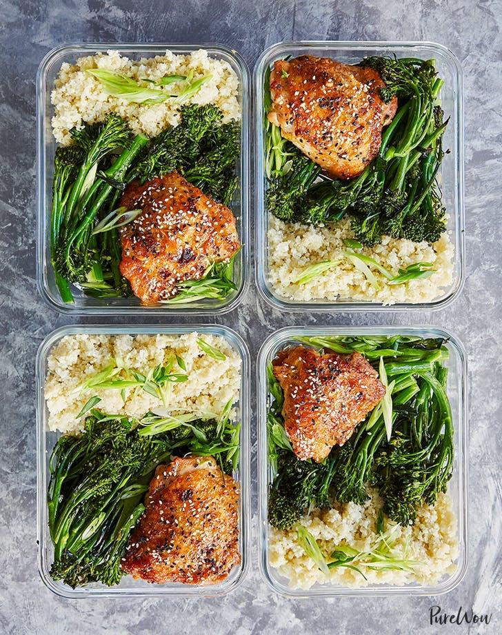 meal prep honey sesame chicken with broccolini recipe hero