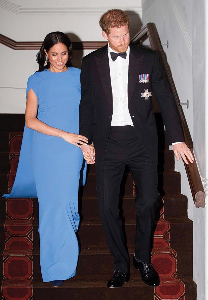 meghan markle wears a blue cape dress to fiji state dinner purewow meghan markle wears a blue cape dress