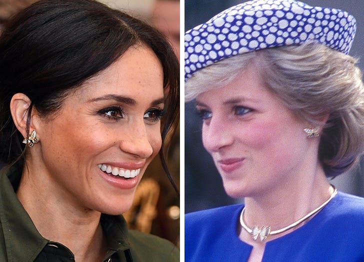 meghan markle princess diana butterfly earrings