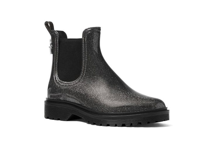 michael kors metallic black rain boots