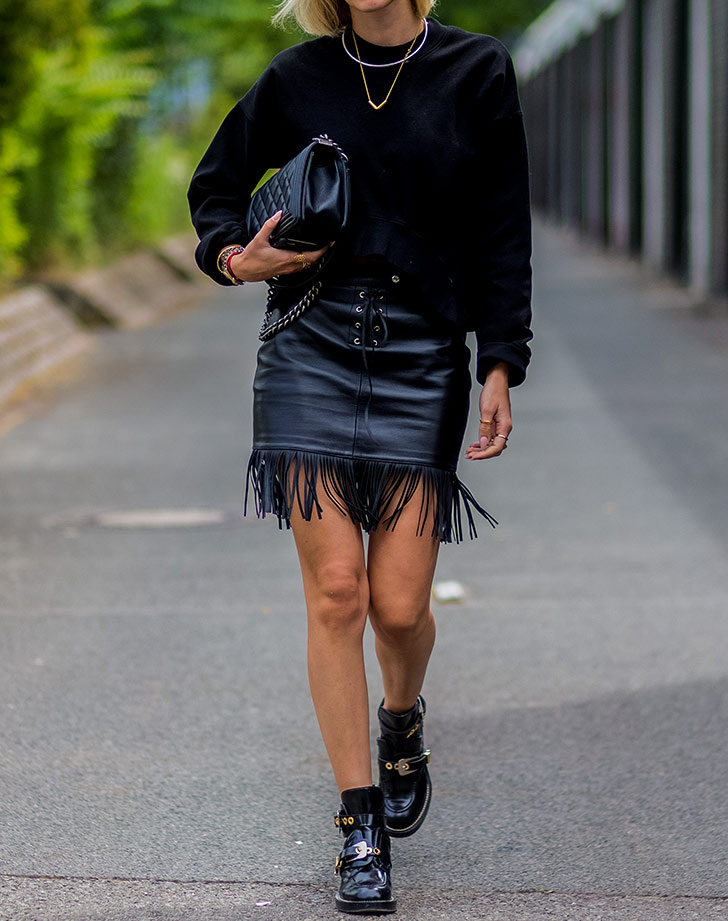 mini dress and ankle boots