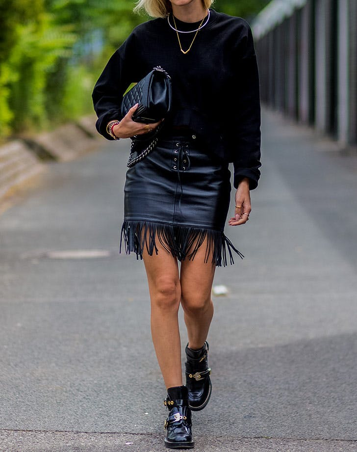 mini skirt with flat black ankle boot