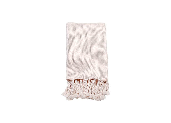 pink woven knit blanket