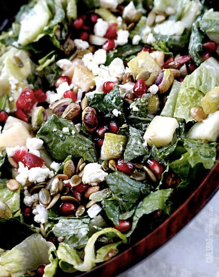 pomegranate pear salad with creamy pomegranate dressing recipe