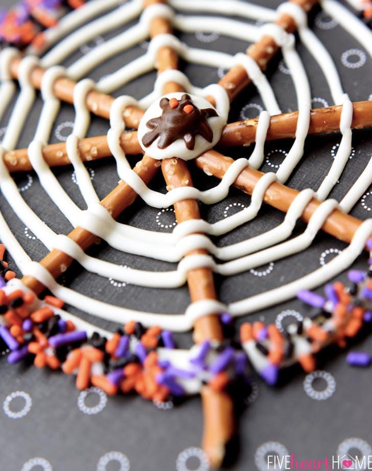 pretzel candy spider webs recipe