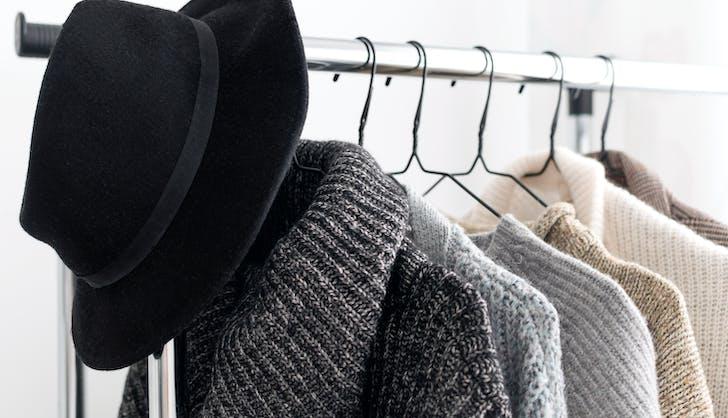 rack of clothing on hangers