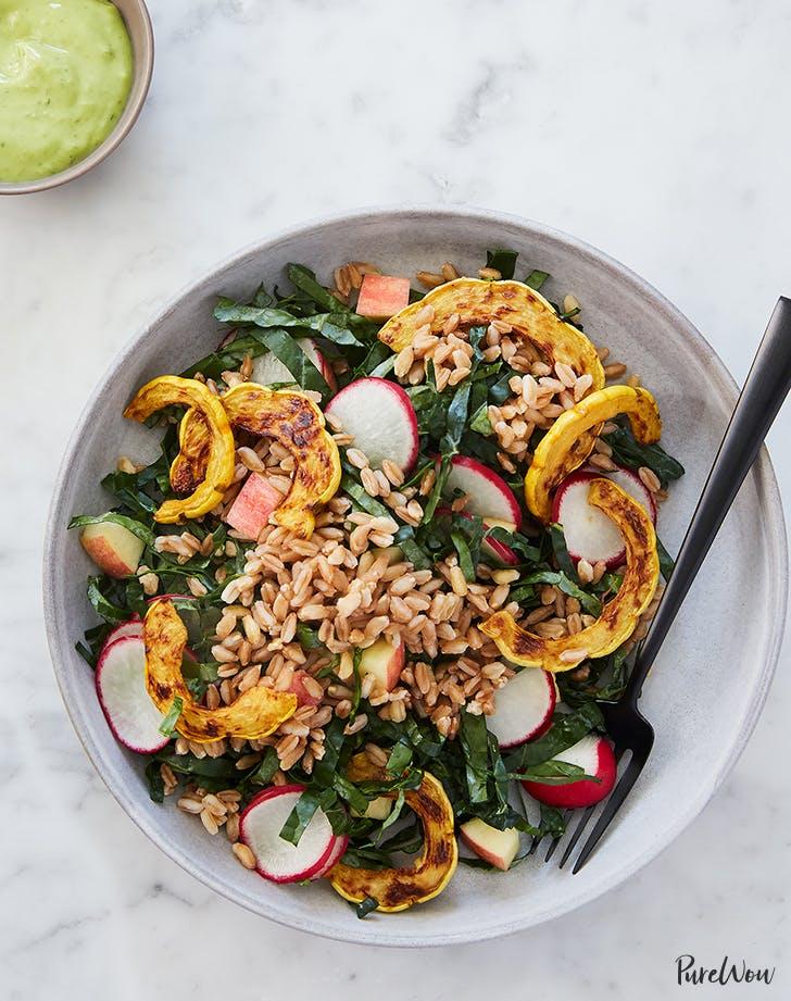 roasted squash farro salad avocado dressing recipe