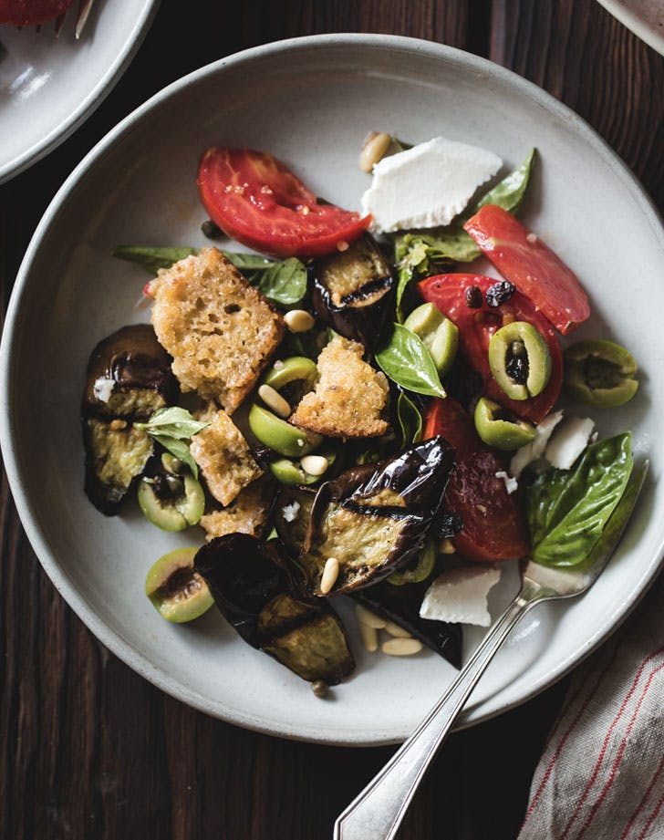 roasted eggplant panzanella with capers olives and pine nuts recipe