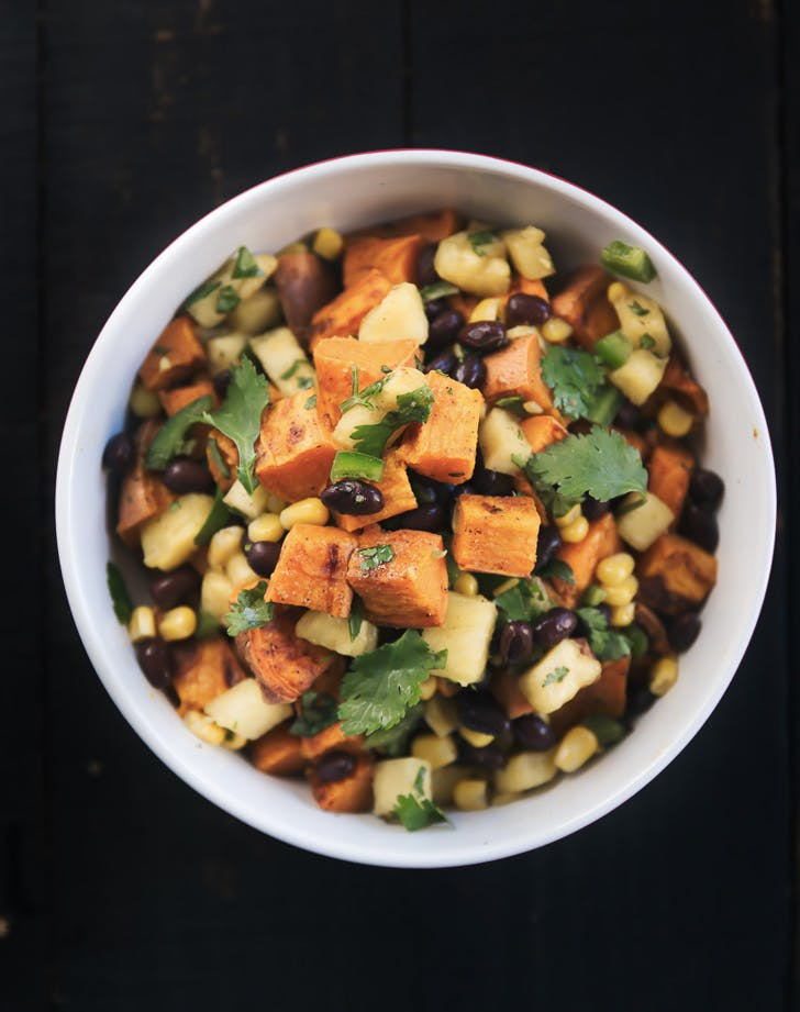 roasted sweet potato and black bean salad with fresno pineapple corn salsa recipe