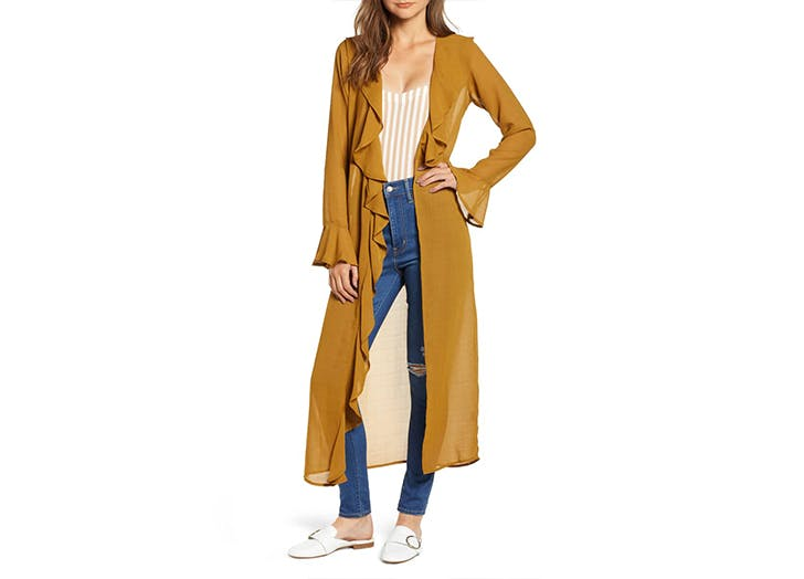 ruffle front jacket