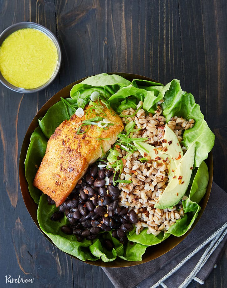salmon bowl with farro black beans and tahini dressing recipe
