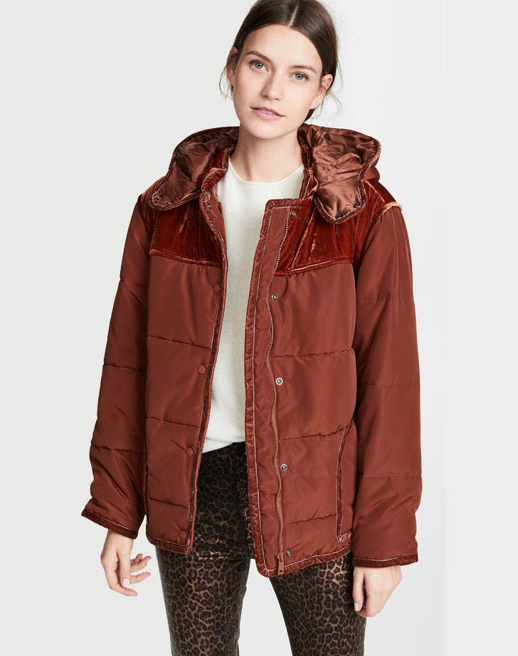 scotch and soda velvet trim puffer coat