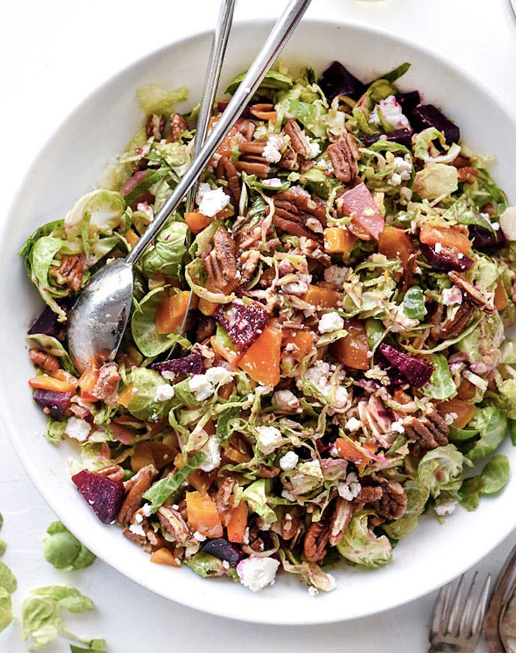 shaved brussels sprouts salad with roasted beets pecans and goat cheese recipe