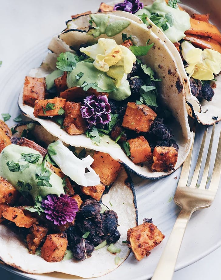 spiced sweet potato and black bean tacos recipe