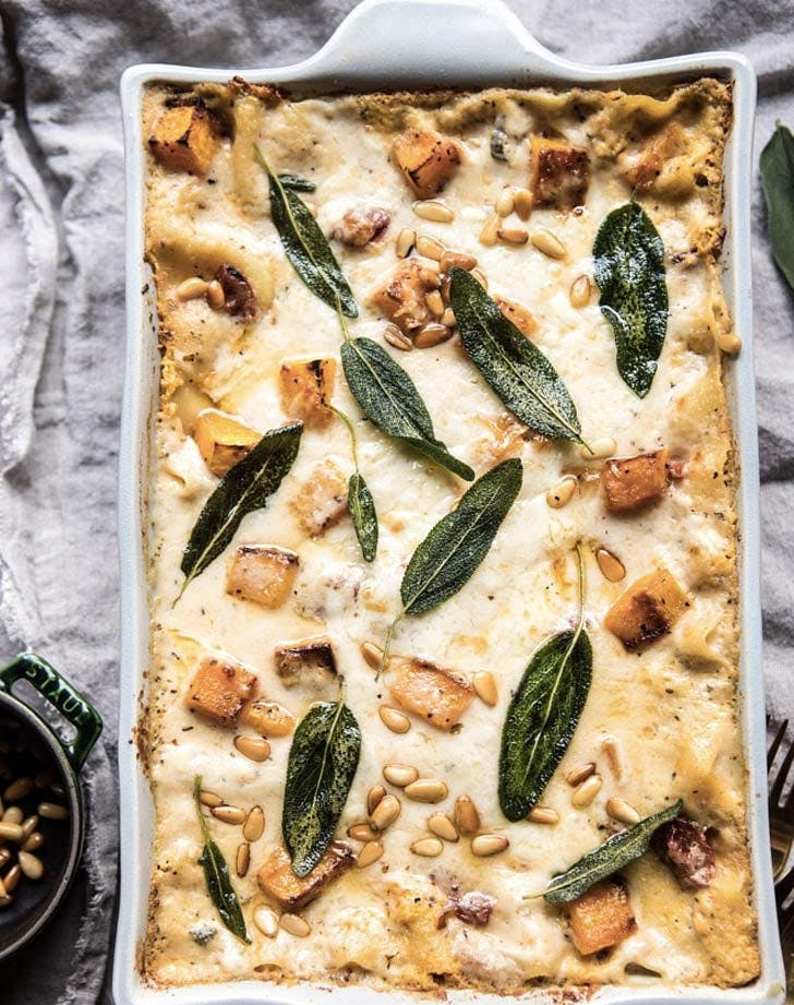 squash and tomato white lasagna