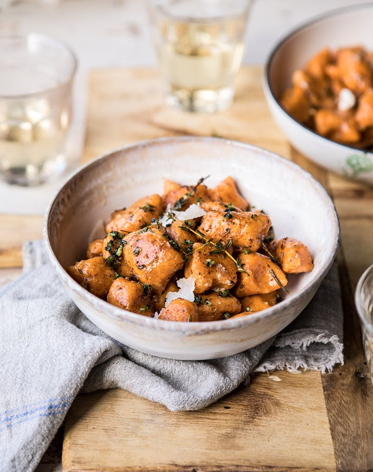 Sweet Potato Gnocchi in Herbed White Wine Sauce