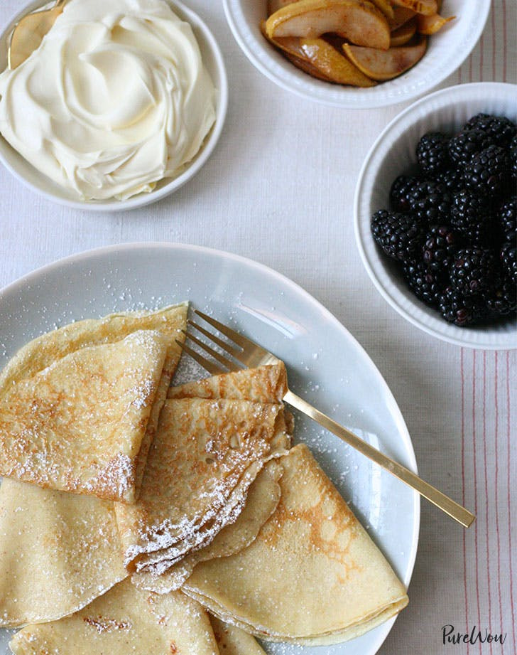 sweet crepes with caramelized pears recipe