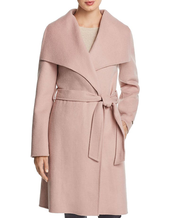 tahari pink wrap coat
