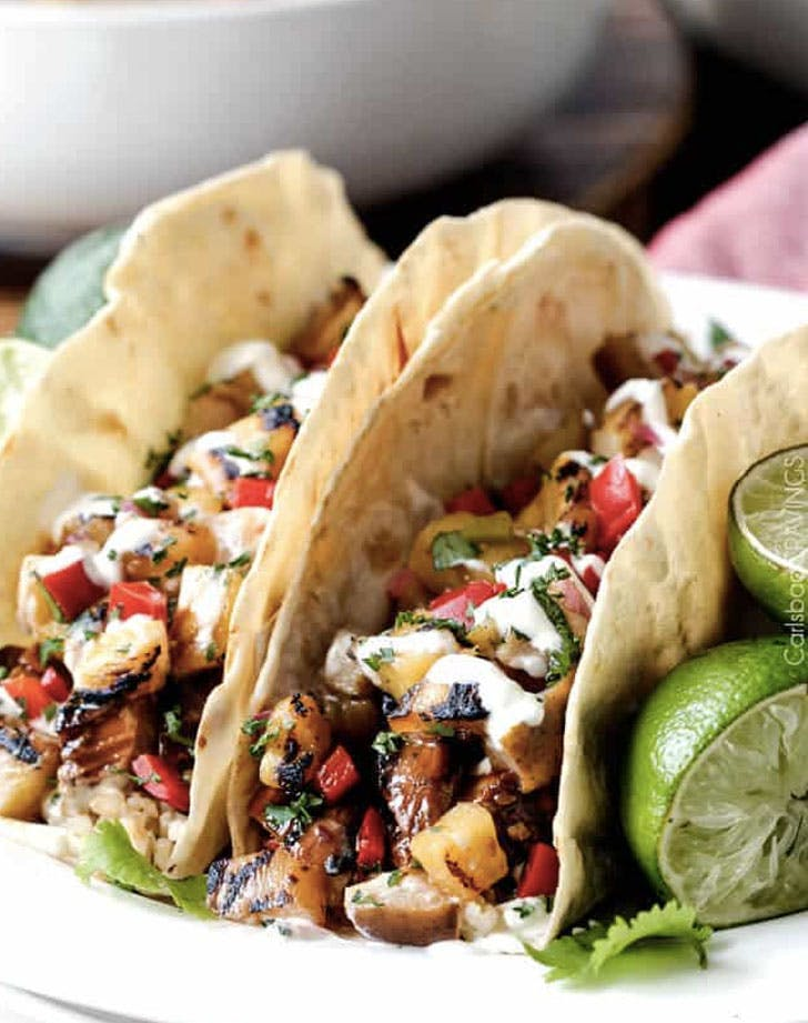 teriyaki chicken tacos with grilled pineapple pear salsa recipe