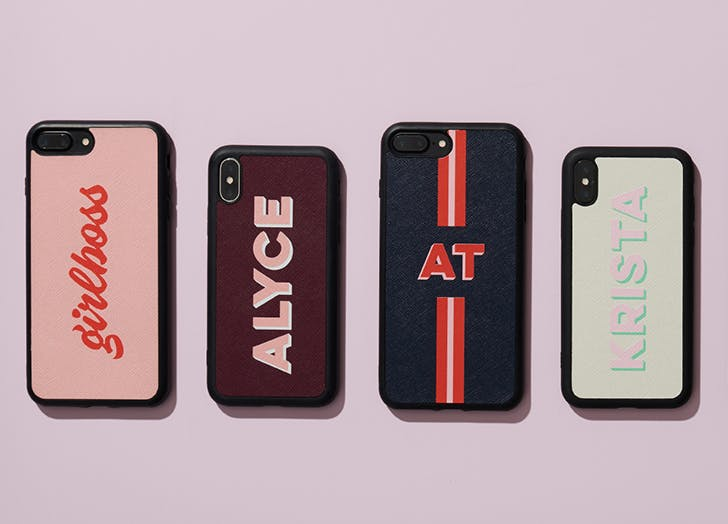 the daily edited leather phone case with custom font