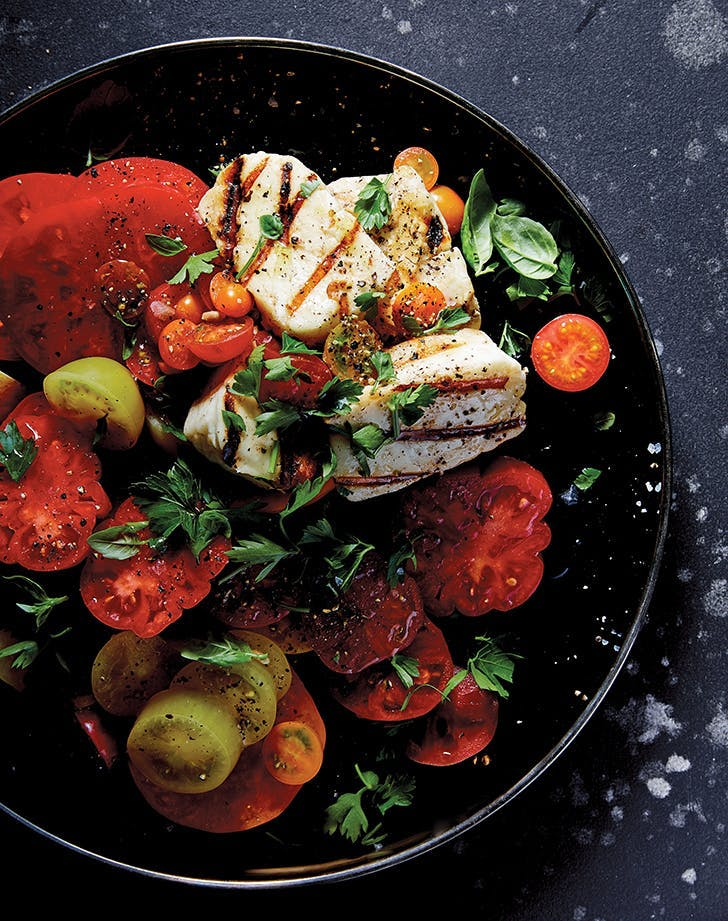 tomato salad grilled halloumi and herbs recipe