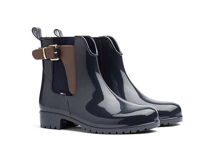 tommy hilfiger leather buckle rain boot