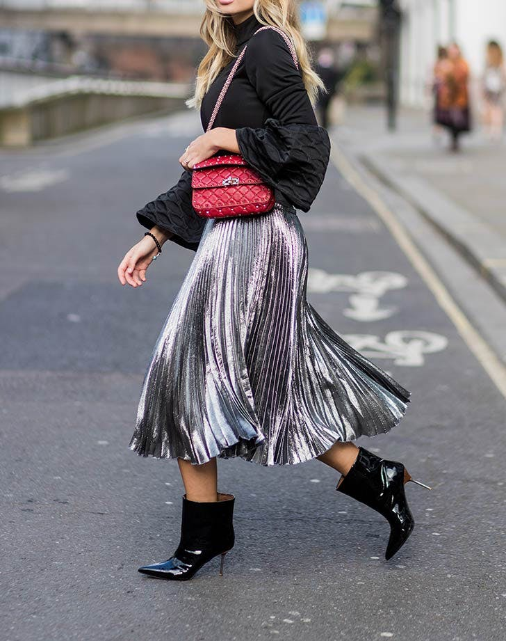 turtle neck midi skirt with ankle boots