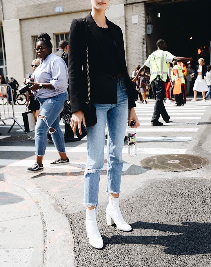 white ankle boots cutoff skinny jeans