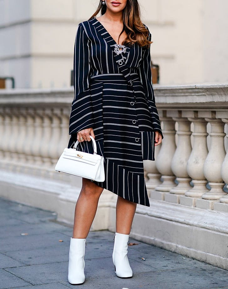 white ankle boots with striped dress