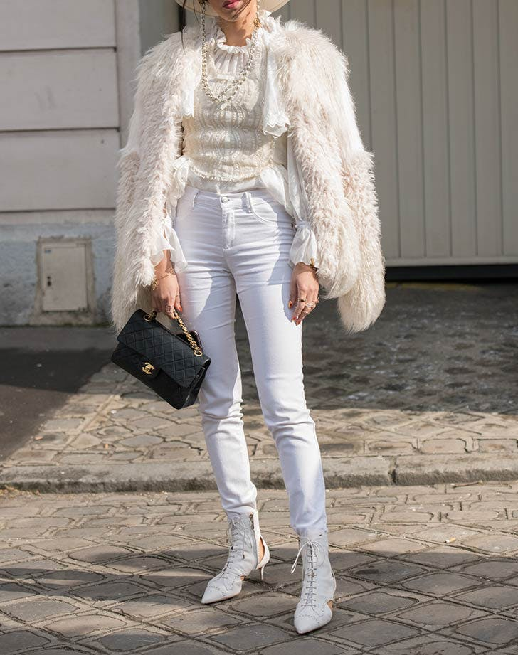 white jeans light sweater ankle boots