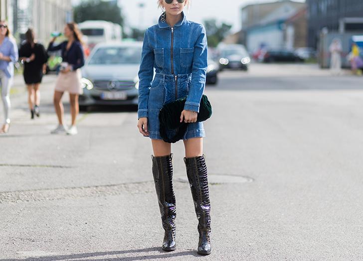 denim dress and boots