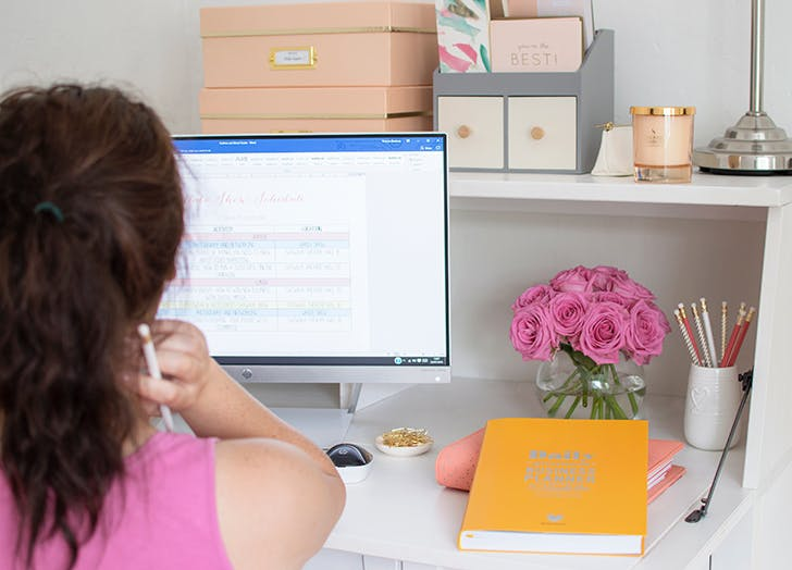 woman working from home cute desk