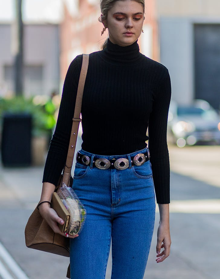 woman wearing a fitted turtleneck tee