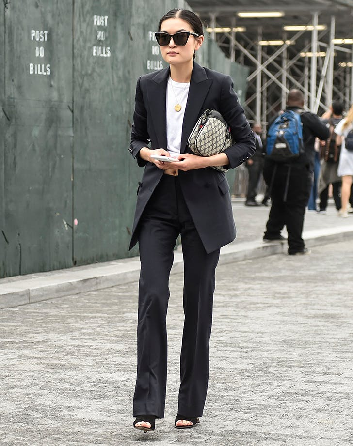 woman wearing a well tailored suit