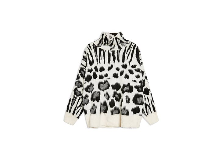 zebra mix turtleneck sweater