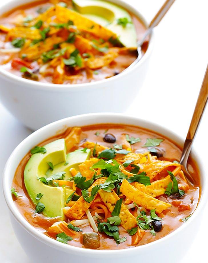 20 Minute Cheesy Chicken Enchilada Soup recipe