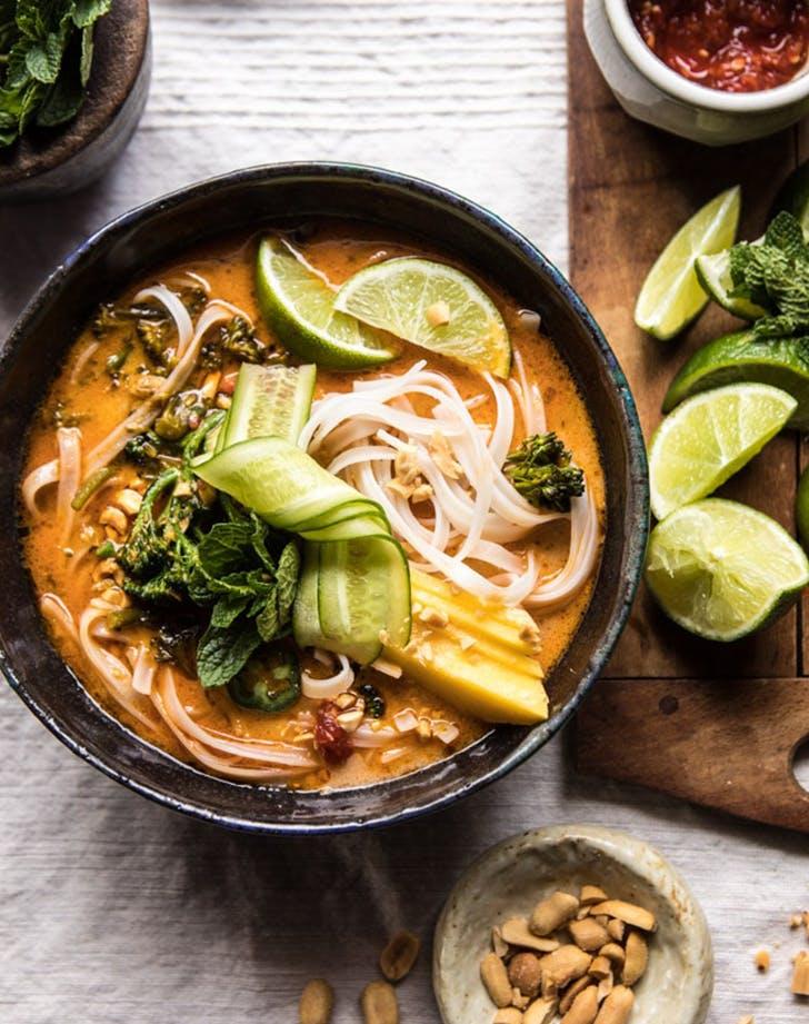 20 Minute Peanut Noodle Soup With Lime Mango recipe