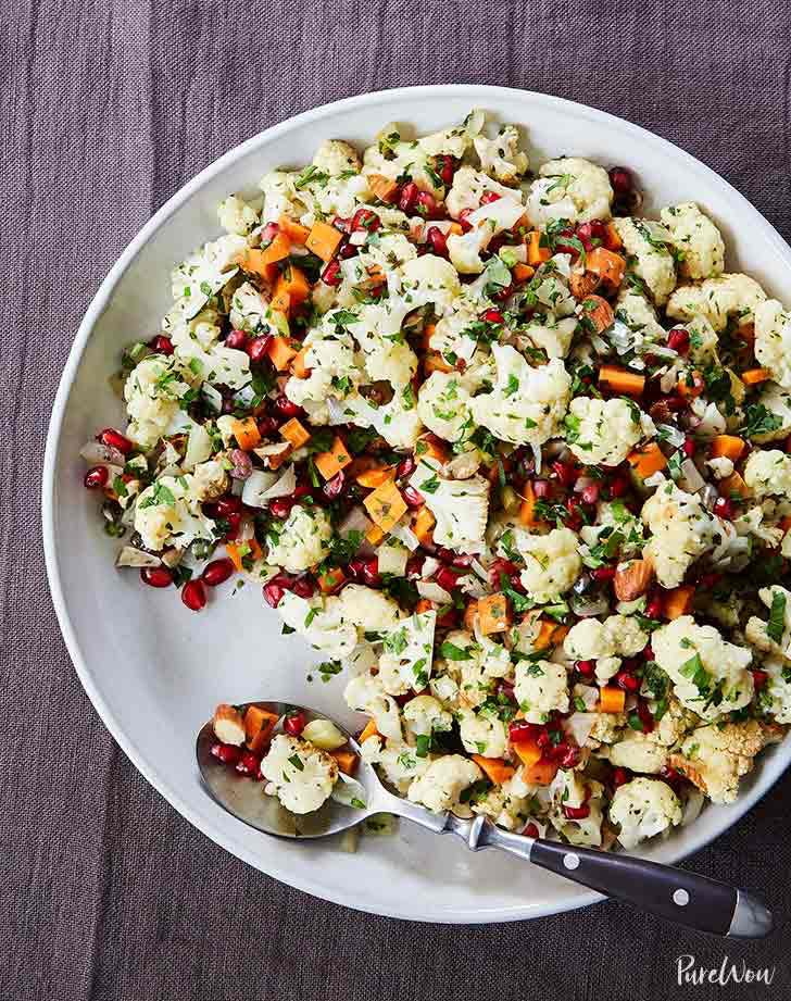 Baked Cauliflower with Pomegranate Seeds and Thyme