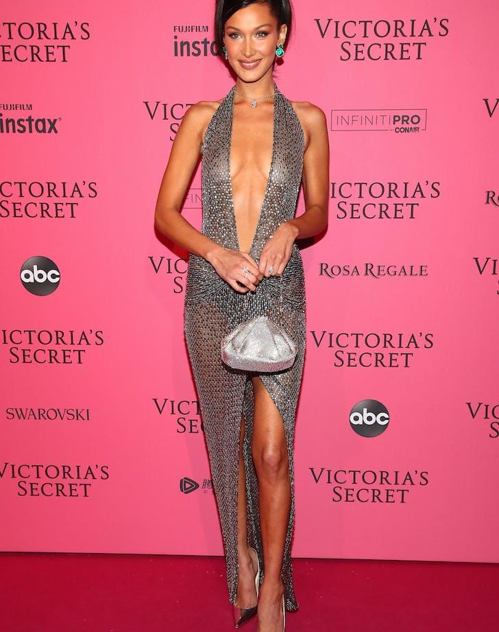 Bella Hadid naked dress silver front