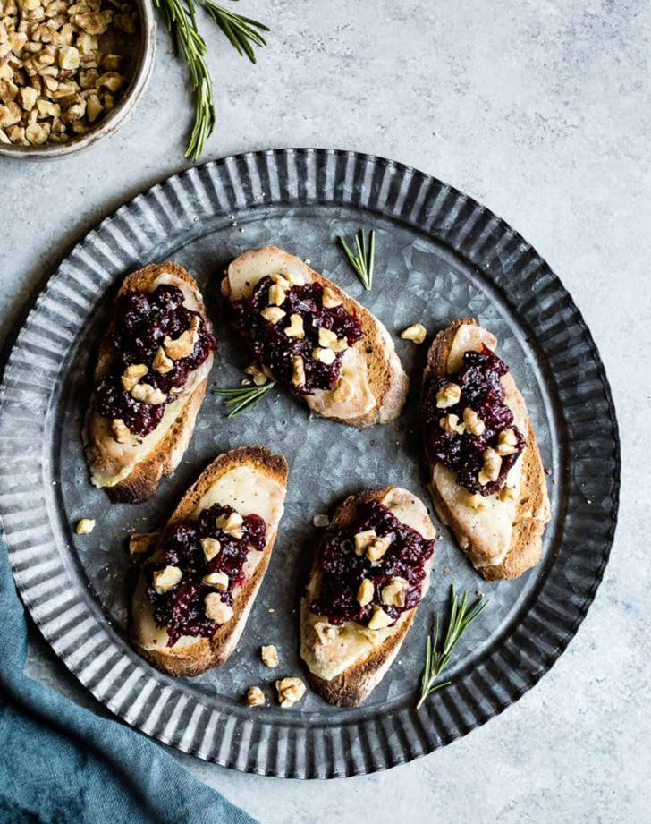 Cheese Crostini with Cranberry Fig Jam recipe