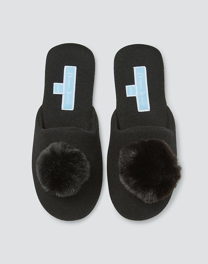 Draper James black Fuzzy Slippers
