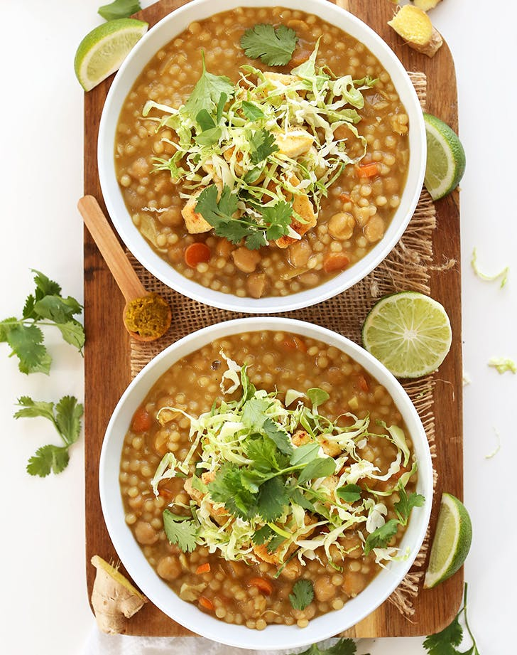 Green Chickpea Curry with Couscous recipe