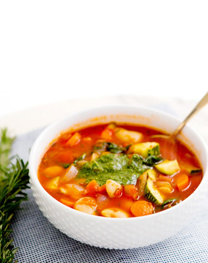 Hearty Vegetable Soup with Pesto recipe