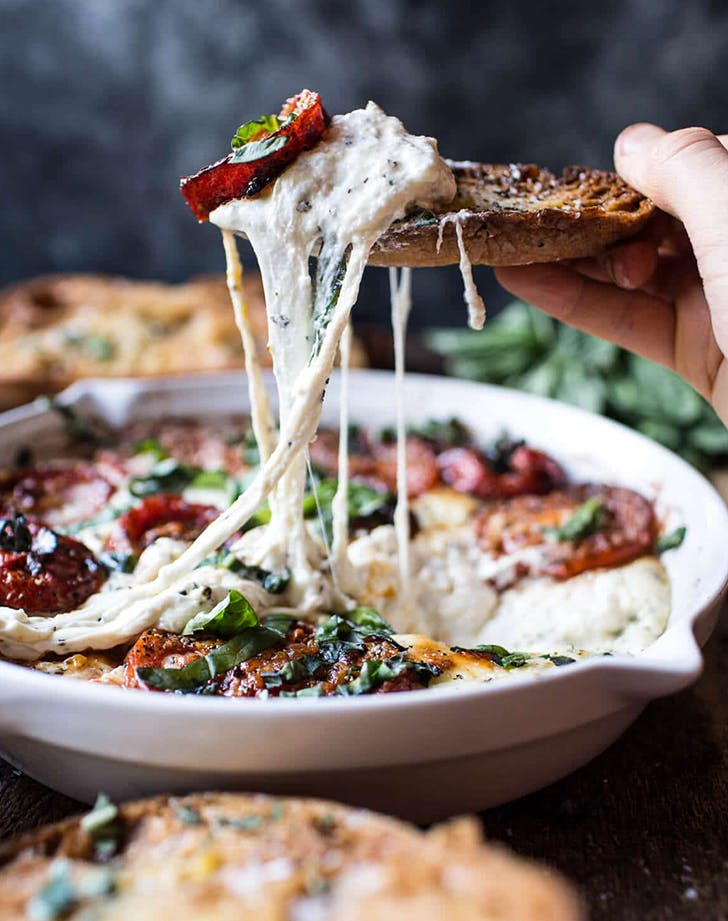 Margherita Pizza Dip with Burrata recipe